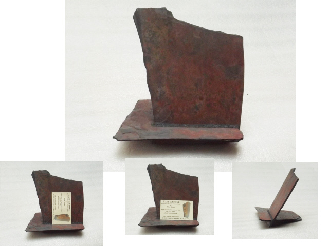three views of a multicoloured slate business card holder